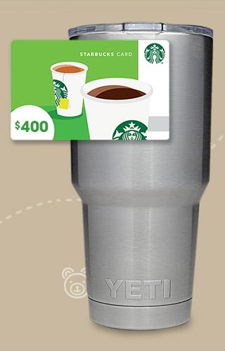 Carte-cadeau Starbucks de 400 $ et gobelet YETI