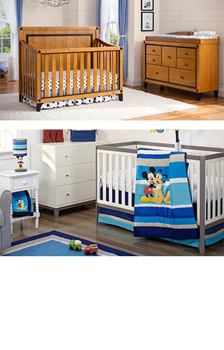 Mickey Mouse Crib, Dresser and Bedding Set